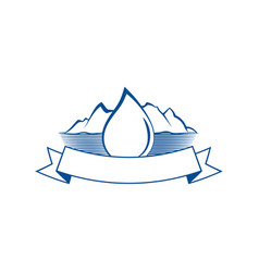 Drop of water and mountain lake emblem vector
