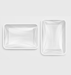 empty white plastic box food container vector image