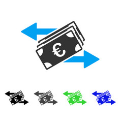 Euro banknotes transfers flat icon vector
