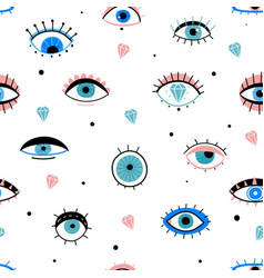 eye doodles seamless pattern hand drawn various vector image