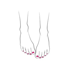 Female feet with red pedicure chiropody vector image
