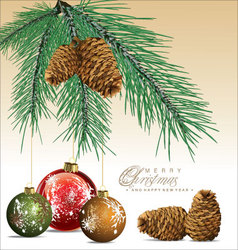 Fir tree with pine cones background vector