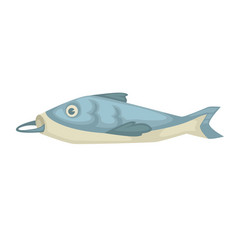 fish with hook in mouth isolated underwater sea vector image