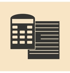 Flat in black white contract and calculator vector