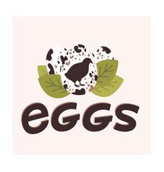 Fresh farm eggs logo quail spotted eggs vector