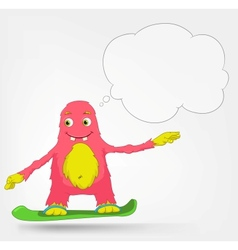 Funny Monster Snowboarding vector image
