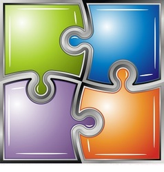 Glossy colorful puzzle vector image