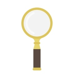 Golden magnifying glass vector image