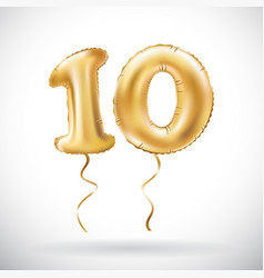 Golden number 10 ten metallic balloon party vector
