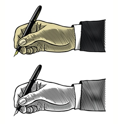 Hand writing with fountain pen in engraved style vector