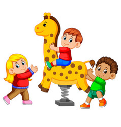 happy kids playing spring rider giraffe vector image
