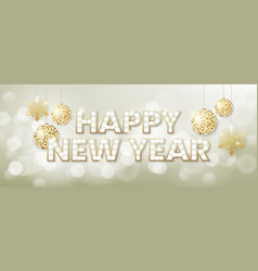 happy new year background with blur golden bokeh vector image