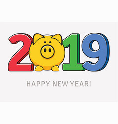happy new year card with pig symbol vector image