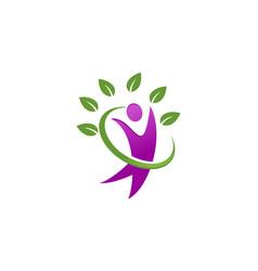 healthcare human leaf logo vector image