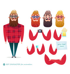 hipster beard photographer fashionable vector image