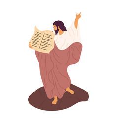 Jesus with 10 commandments vector