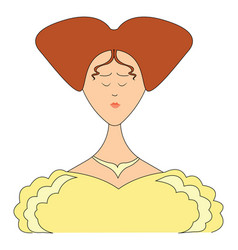 lady in yellow dress on white background vector image