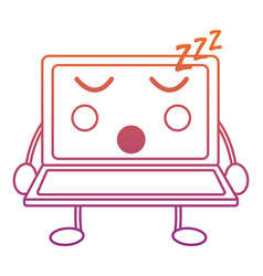 Laptop sleep kawaii icon imag vector