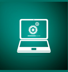 laptop update process with loading bar vector image