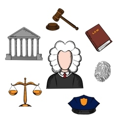 Law judge and justice icons vector image
