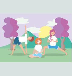 man and women training yoga balance vector image