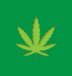 marijuana leaf paper cut out icon vector image
