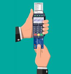 modern pos terminal bank payment device vector image