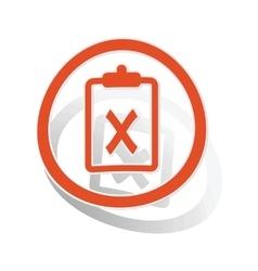 Negative result sign sticker orange vector