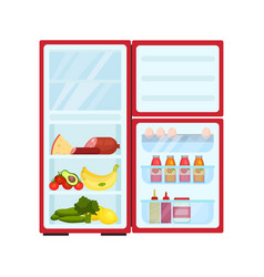 Open refrigerator filled with products fresh vector