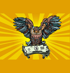 Owl holding in its talons the money vector