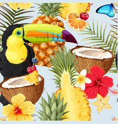 Pattern with toucans and exotic fruits vector
