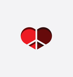 peace and love heart symbol vector image
