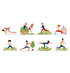people doing sport yoga exercises in park gym vector image