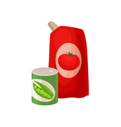 Plastic pack of tomato ketchup and tin can of vector