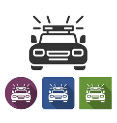 police car icon in different variants with long vector image