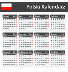 polish calendar for 2018 scheduler agenda or vector image