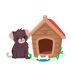 Puppy and doghouse cute cartoon animal character vector