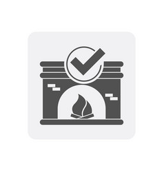 Quality control at home icon with fireplace sign vector