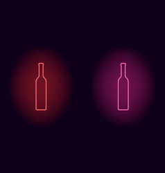 red and pink neon wine bottle vector image
