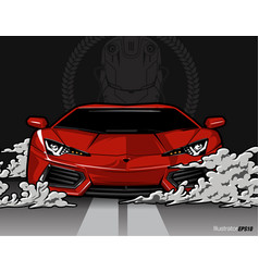 red color sport car on gray vector image