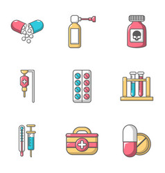 Remedy icons set cartoon style vector