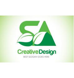 Sa green leaf letter design logo eco bio leaf vector