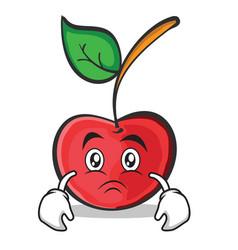 sad face cherry character cartoon style vector image