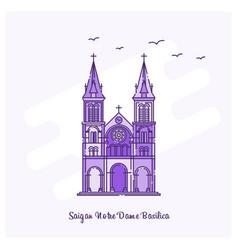 Saigan notre dame basilica landmark purple dotted vector