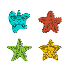 sea star icon set color outline style vector image