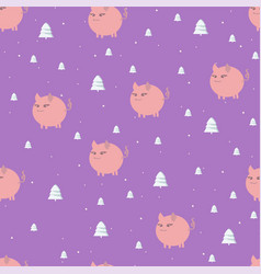 seamless christmas pattern with white pink piglets vector image