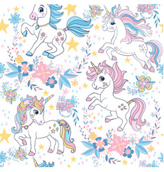 Seamless pattern with unicorns and floral vector