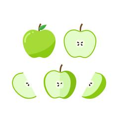 Set green apple whole and ripe apple half vector