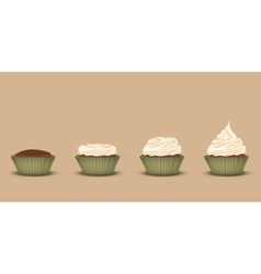 Set of cupcakes with a different amount of cream vector image vector image