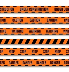 Set of orange warning tapes vector image